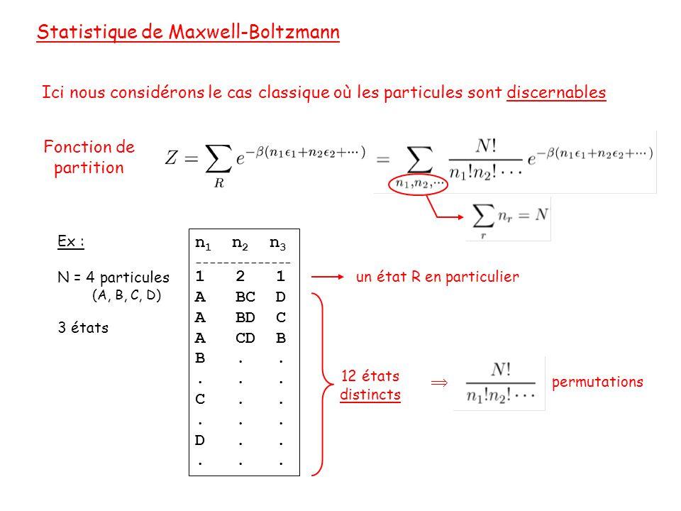 Statistique de Maxwell-Boltzmann Ici nous considérons le cas classique où les particules sont discernables Illégal en mécanique quantique n 1 n 2 n 3 -------------- 1 2 1 A BC D A BD C A CD B B.....