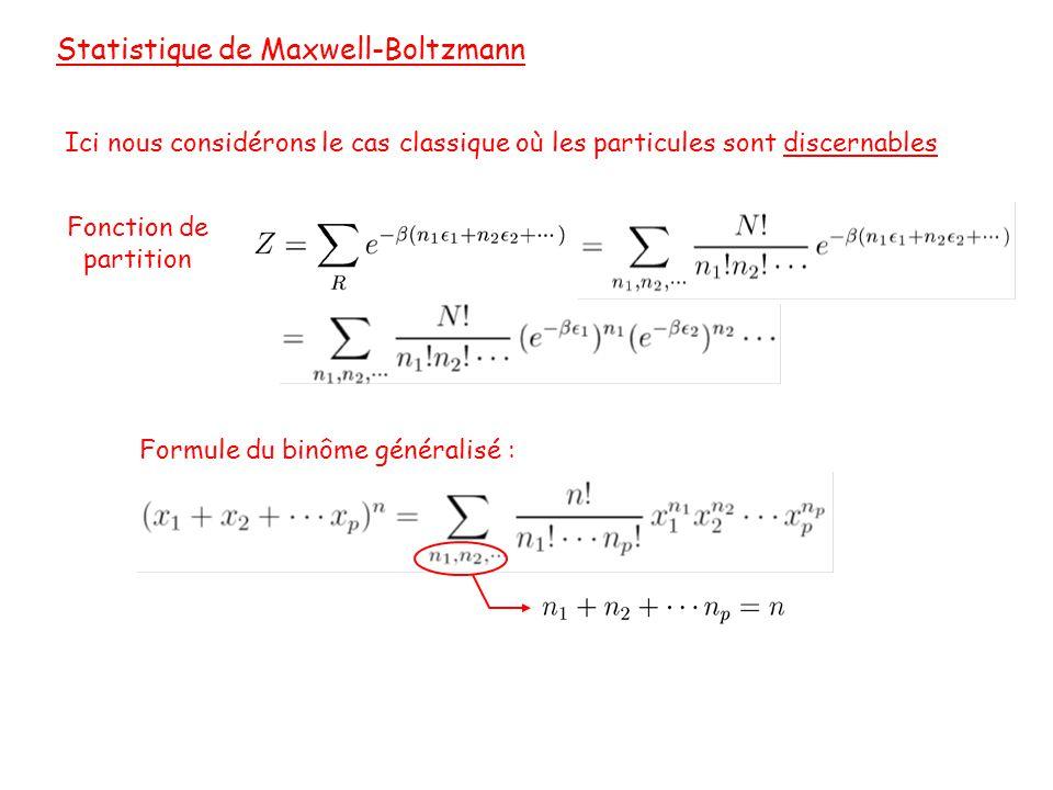 Statistique de Maxwell-Boltzmann Ici nous considérons le cas classique où les particules sont discernables Fonction de partition Formule du binôme généralisé :