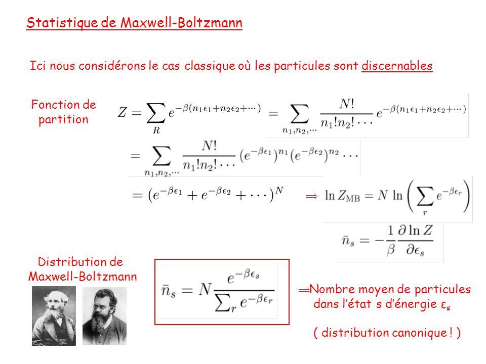 Statistique de Maxwell-Boltzmann Ici nous considérons le cas classique où les particules sont discernables Fonction de partition  Distribution de Maxwell-Boltzmann  Nombre moyen de particules dans l'état s d'énergie ε s ( distribution canonique .