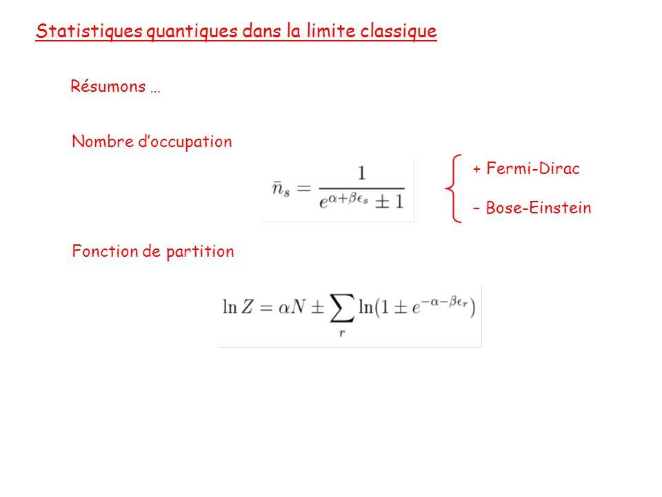 Statistiques quantiques dans la limite classique Résumons … Nombre d'occupation Fonction de partition + Fermi-Dirac – Bose-Einstein