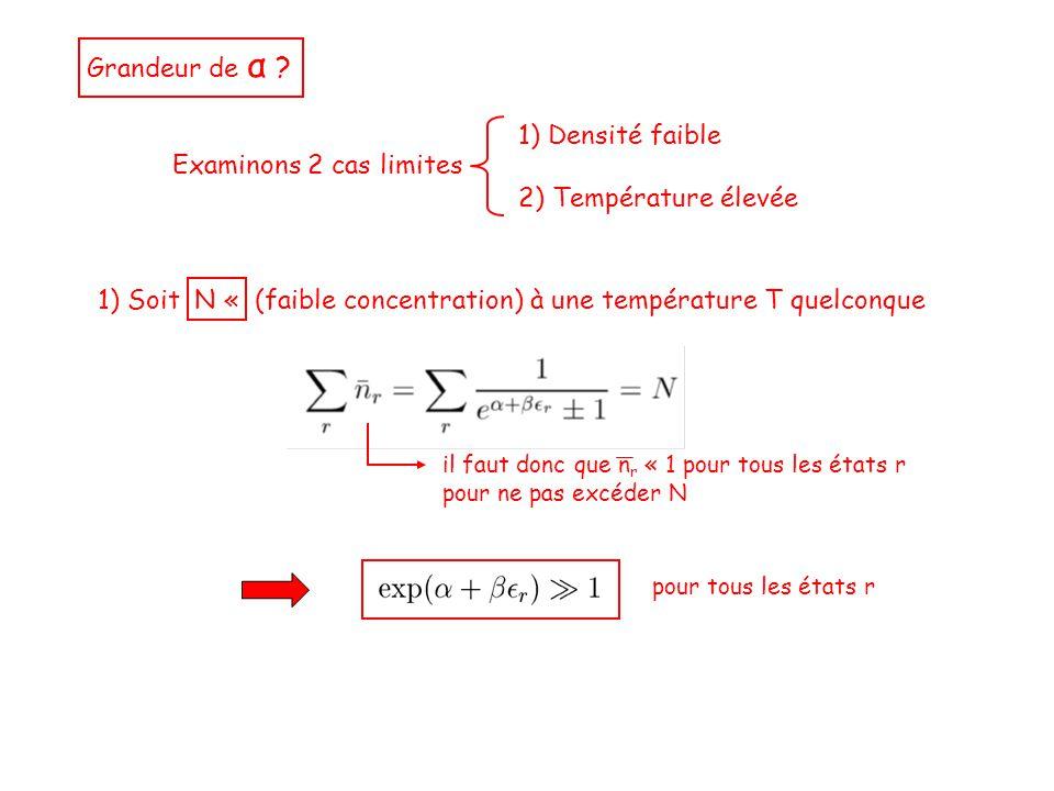 Grandeur de α ? Examinons 2 cas limites 1) Densité faible 2) Température élevée 1) Soit N « (faible concentration) à une température T quelconque il f