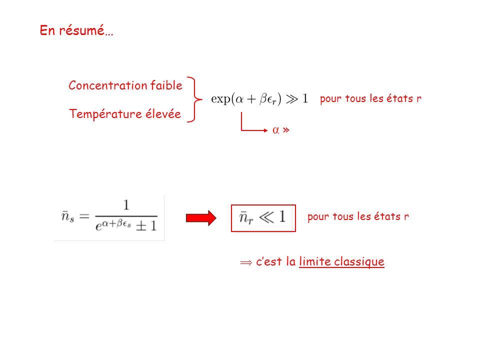 En résumé… Concentration faible Température élevée  c'est la limite classique pour tous les états r α »α »