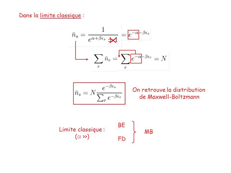Dans la limite classique : X On retrouve la distribution de Maxwell-Boltzmann Limite classique : ( α >>) BE FD MB