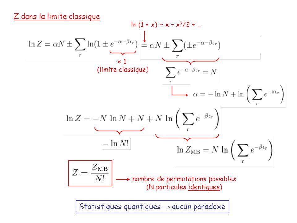 Z dans la limite classique « 1 (limite classique) ln (1 + x) ~ x – x 2 /2 + … nombre de permutations possibles (N particules identiques) Statistiques quantiques  aucun paradoxe