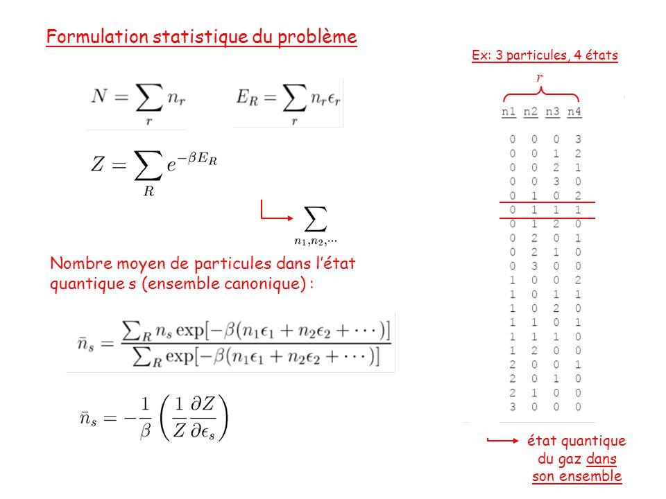 Nombre moyen de particules dans l'état quantique s (ensemble canonique) : r Ex: 3 particules, 4 états état quantique du gaz dans son ensemble Formulation statistique du problème