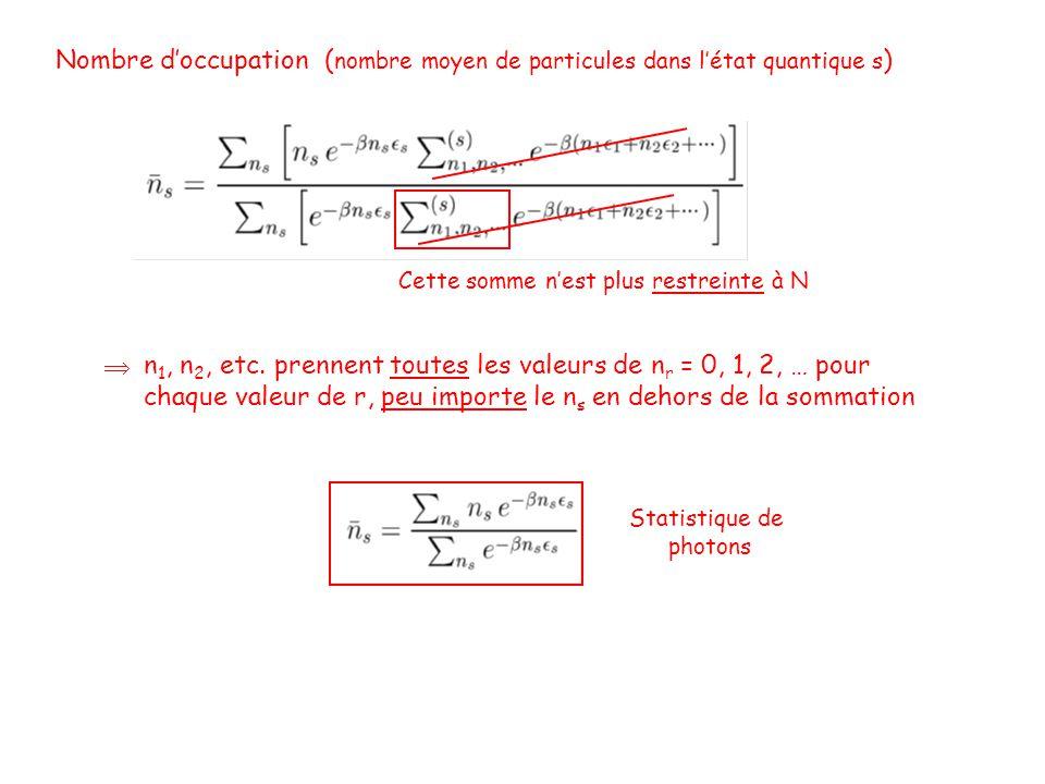 Nombre d'occupation ( nombre moyen de particules dans l'état quantique s ) Cette somme n'est plus restreinte à N n 1, n 2, etc.