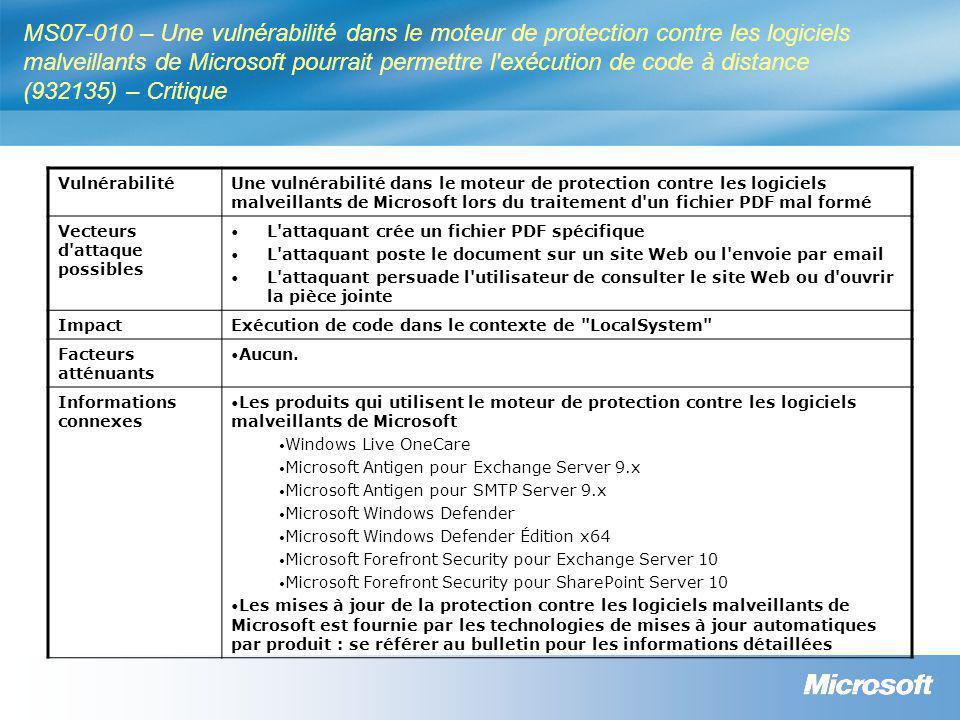 MS07-010 – Une vulnérabilité dans le moteur de protection contre les logiciels malveillants de Microsoft pourrait permettre l exécution de code à distance (932135) – Critique VulnérabilitéUne vulnérabilité dans le moteur de protection contre les logiciels malveillants de Microsoft lors du traitement d un fichier PDF mal formé Vecteurs d attaque possibles • L attaquant crée un fichier PDF spécifique • L attaquant poste le document sur un site Web ou l envoie par email • L attaquant persuade l utilisateur de consulter le site Web ou d ouvrir la pièce jointe ImpactExécution de code dans le contexte de LocalSystem Facteurs atténuants • Aucun.