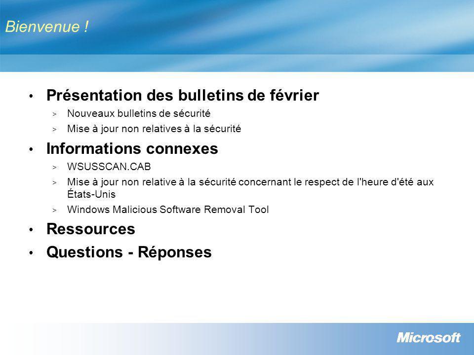 Février 2007 - Mises à jour non relatives à la sécurité NuméroTitreDistribution 931836Mise à jour pour Windows XP (Heure d été)WinUpdate, MSUpdate 925720Mise à jour de CardSpace pour Windows XP (février 2007) WinUpdate, MSUpdate 924885 Mise à jour du filtre de courrier indésirable Outlook 2003 MSUpdate 924884 Mise à jour du filtre de courrier indésirable Outlook 2007 MSUpdate 925251 Mise à jour pour Office 2003 MSUpdate 929058 Mise à jour pour Excel 2003 MSUpdate 929060 Mise à jour pour PowerPoint 2003 MSUpdate 926666 Mise à jour concernant les modifications d heure d été en 2007 pour Exchange 2003 MSUpdate