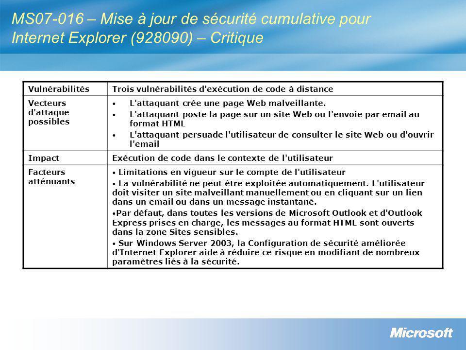 MS07-016 – Mise à jour de sécurité cumulative pour Internet Explorer (928090) – Critique VulnérabilitésTrois vulnérabilités d exécution de code à distance Vecteurs d attaque possibles • L attaquant crée une page Web malveillante.