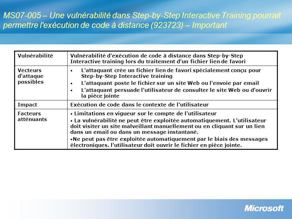 MS07-006 – Une vulnérabilité dans le shell Windows pourrait permettre une élévation de privilèges (928255) – Important VulnérabilitéVulnérabilité d élévation des privilèges dans le shell Windows lors de la détection et à l enregistrement de nouveau matériel.