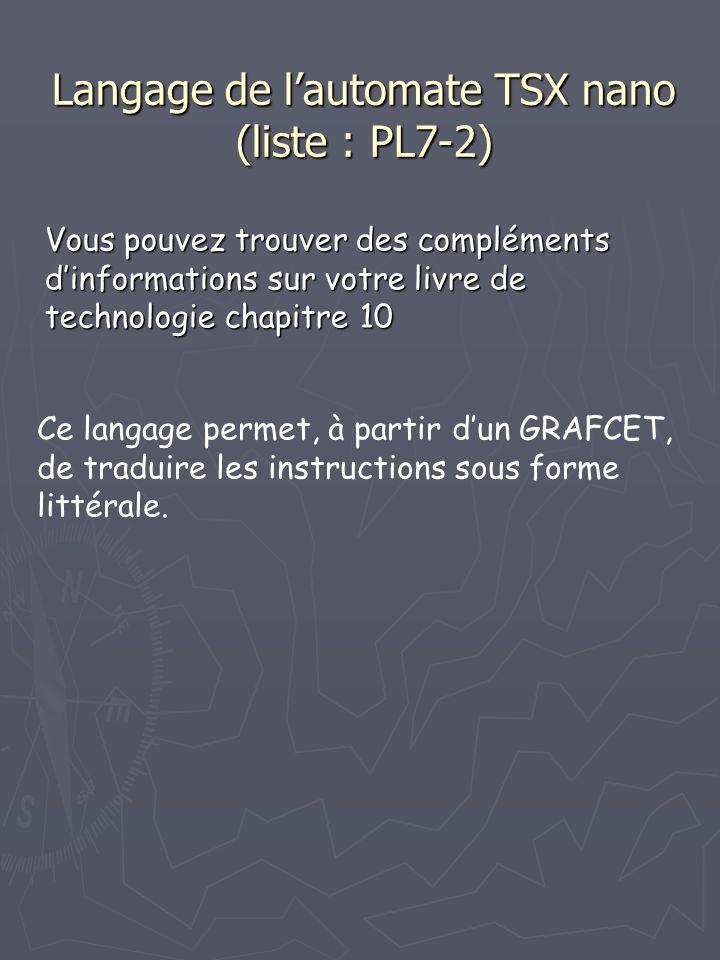 Langage de l'automate TSX nano (liste : PL7-2) Vous pouvez trouver des compléments d'informations sur votre livre de technologie chapitre 10 Ce langage permet, à partir d'un GRAFCET, de traduire les instructions sous forme littérale.