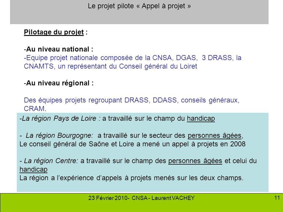 23 Février 2010- CNSA - Laurent VACHEY 11 Pilotage du projet : -Au niveau national : -Equipe projet nationale composée de la CNSA, DGAS, 3 DRASS, la C