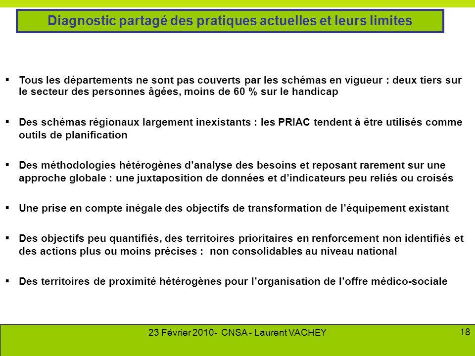 23 Février 2010- CNSA - Laurent VACHEY 18  Tous les départements ne sont pas couverts par les schémas en vigueur : deux tiers sur le secteur des pers