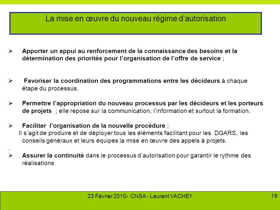23 Février 2010- CNSA - Laurent VACHEY 19  Apporter un appui au renforcement de la connaissance des besoins et la détermination des priorités pour l'