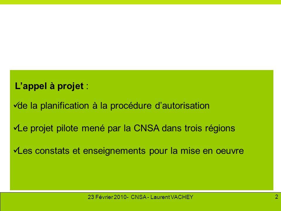 23 Février 2010- CNSA - Laurent VACHEY 2 L'appel à projet :  de la planification à la procédure d'autorisation  Le projet pilote mené par la CNSA da