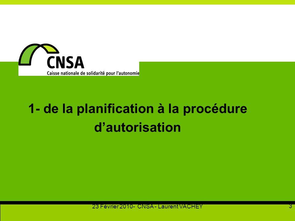 23 Février 2010- CNSA - Laurent VACHEY 3 1- de la planification à la procédure d'autorisation