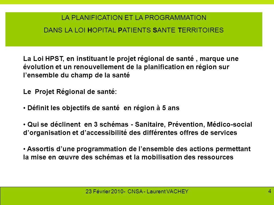 23 Février 2010- CNSA - Laurent VACHEY 4 LA PLANIFICATION ET LA PROGRAMMATION DANS LA LOI HOPITAL PATIENTS SANTE TERRITOIRES La Loi HPST, en instituan