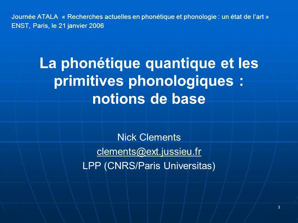 1 Journée ATALA « Recherches actuelles en phonétique et phonologie : un état de l'art » ENST, Paris, le 21 janvier 2006 La phonétique quantique et les