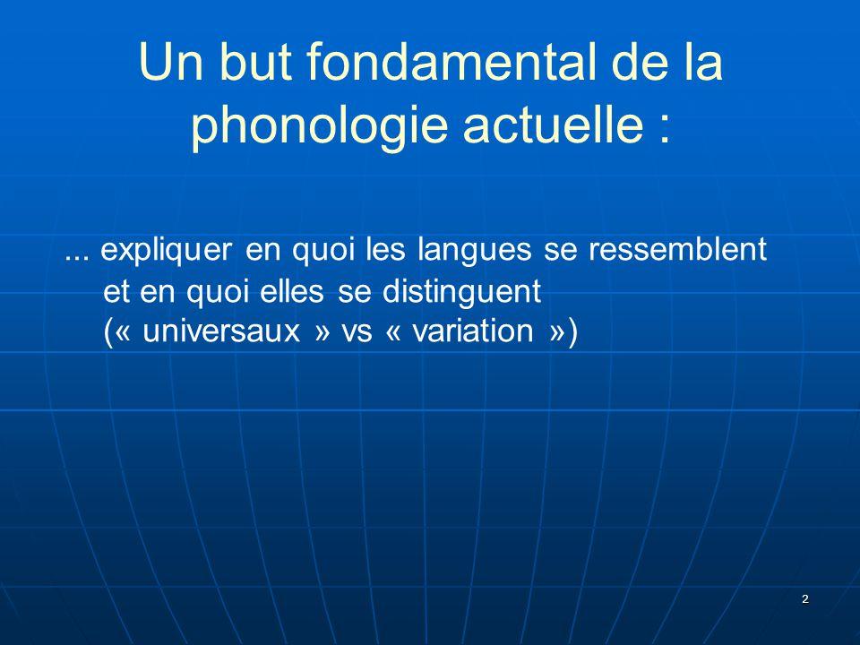 2 Un but fondamental de la phonologie actuelle :... expliquer en quoi les langues se ressemblent et en quoi elles se distinguent (« universaux » vs «
