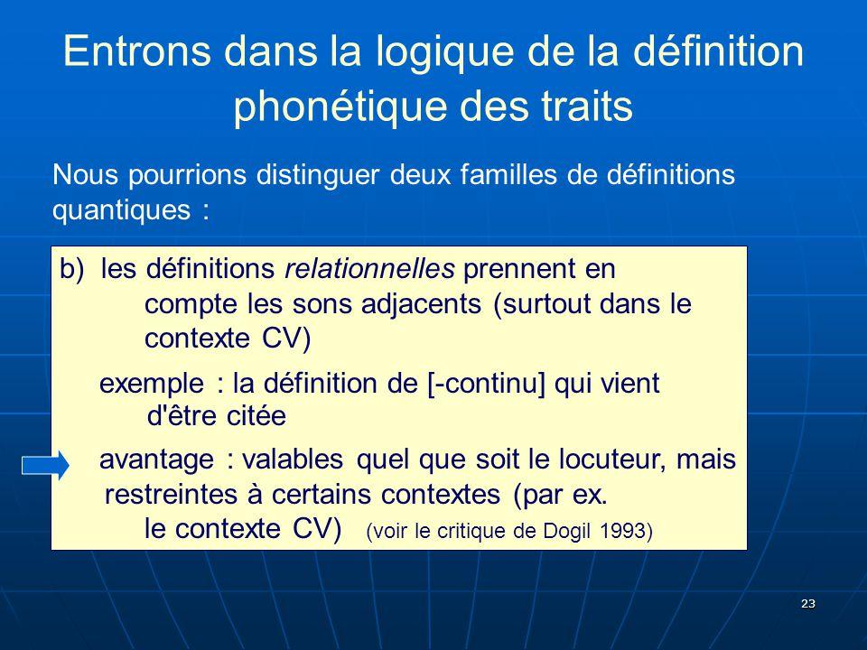 23 Entrons dans la logique de la définition phonétique des traits Nous pourrions distinguer deux familles de définitions quantiques : b) les définitio