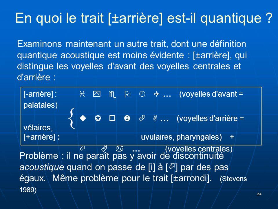 24 En quoi le trait [±arrière] est-il quantique ? Examinons maintenant un autre trait, dont une définition quantique acoustique est moins évidente : [