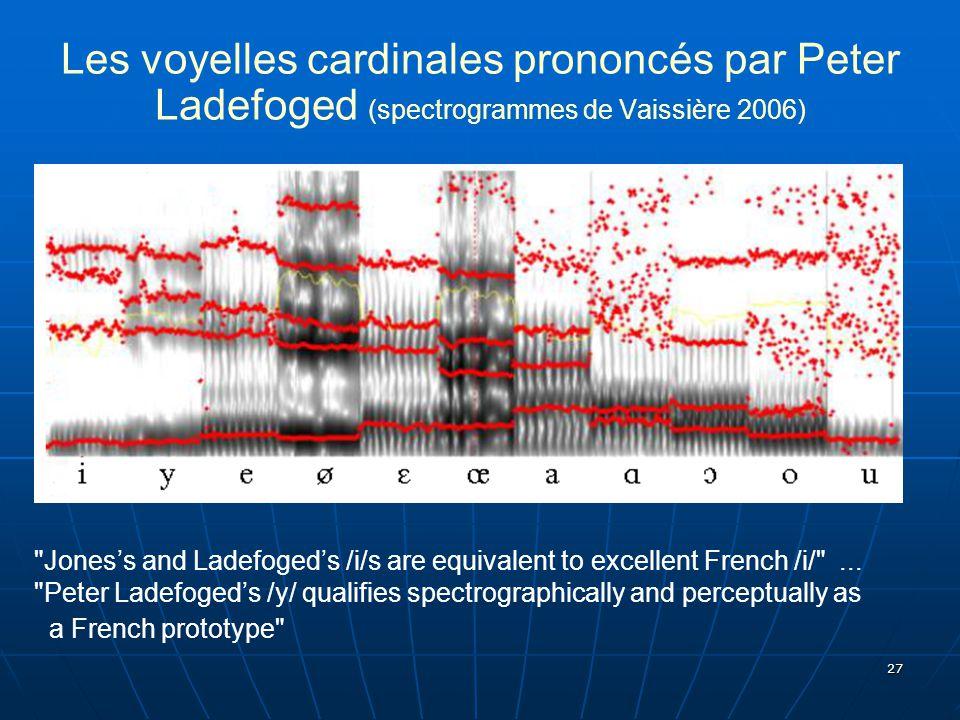 27 Les voyelles cardinales prononcés par Peter Ladefoged (spectrogrammes de Vaissière 2006)