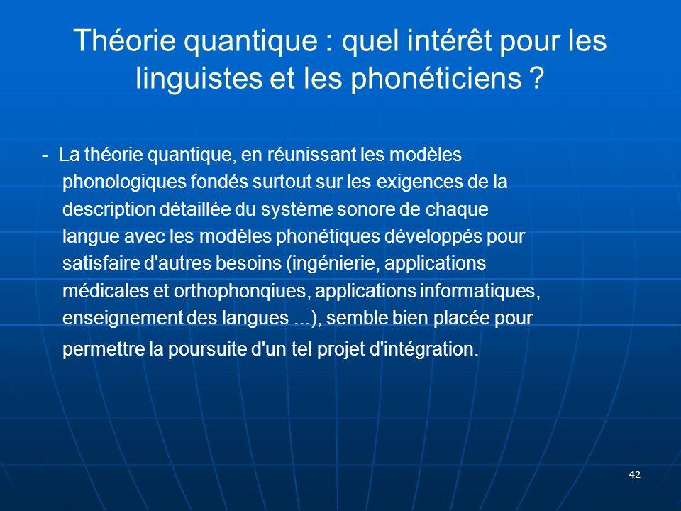 42 Théorie quantique : quel intérêt pour les linguistes et les phonéticiens ? - La théorie quantique, en réunissant les modèles phonologiques fondés s