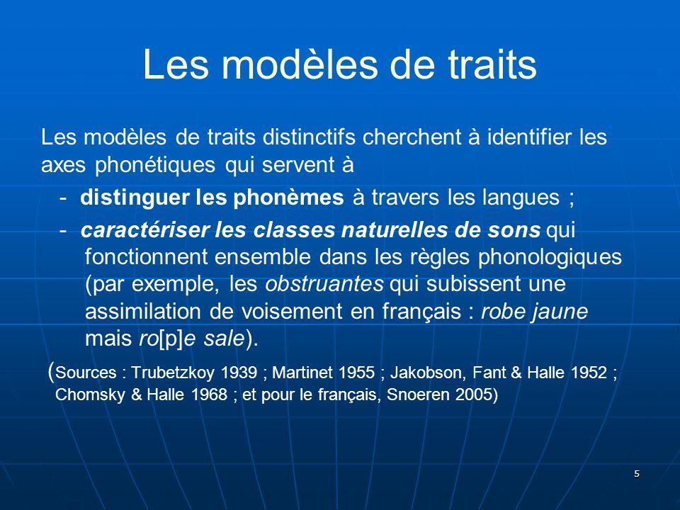 5 Les modèles de traits Les modèles de traits distinctifs cherchent à identifier les axes phonétiques qui servent à - distinguer les phonèmes à traver