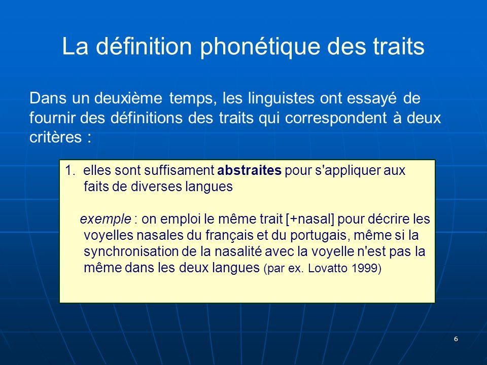 7 La définition phonétique des traits Dans un deuxième temps, les linguistes ont essayé de fournir des définitions des traits qui correspondent à deux critères : 2.