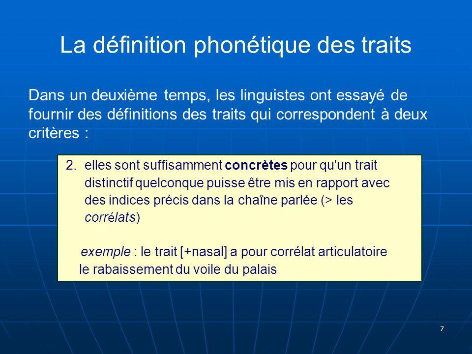 7 La définition phonétique des traits Dans un deuxième temps, les linguistes ont essayé de fournir des définitions des traits qui correspondent à deux