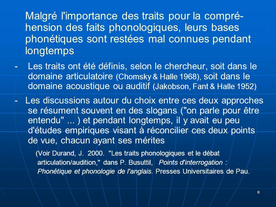 39 Quelques recherches récentes ou en cours par des membres du projet Bases phonétiques des traits distinctifs (LPP, Paris) portant sur ces questions quels traits pour les langues sifflées .