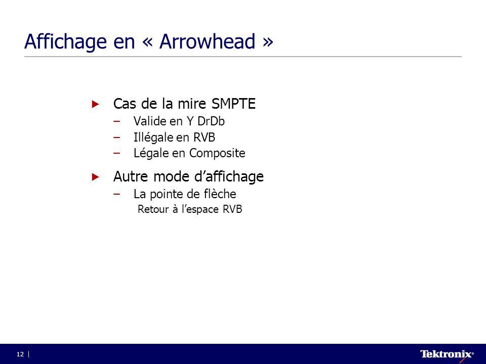 12 Affichage en « Arrowhead »  Cas de la mire SMPTE –Valide en Y DrDb –Illégale en RVB –Légale en Composite  Autre mode d'affichage –La pointe de fl