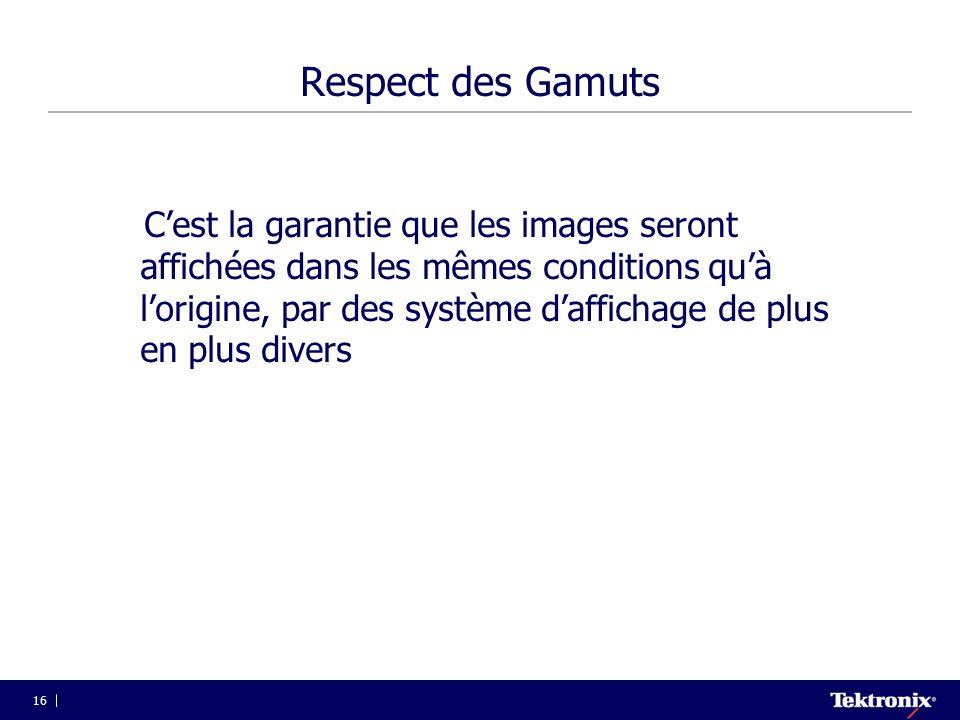 16 Respect des Gamuts C'est la garantie que les images seront affichées dans les mêmes conditions qu'à l'origine, par des système d'affichage de plus