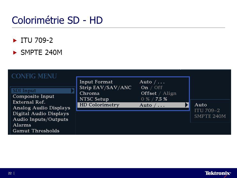 22 Colorimétrie SD - HD  ITU 709-2  SMPTE 240M