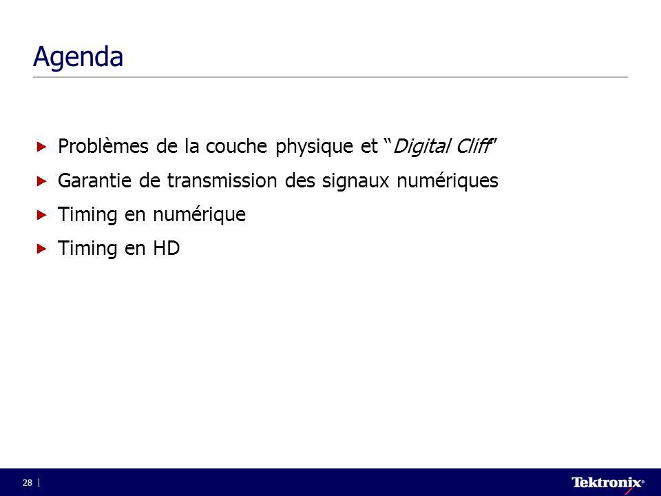 """28 Agenda  Problèmes de la couche physique et """"Digital Cliff""""  Garantie de transmission des signaux numériques  Timing en numérique  Timing en HD"""