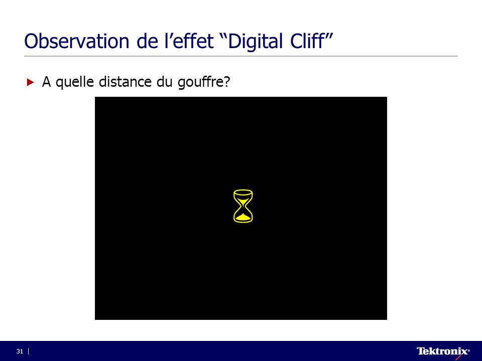 """31 Observation de l'effet """"Digital Cliff""""  A quelle distance du gouffre? """