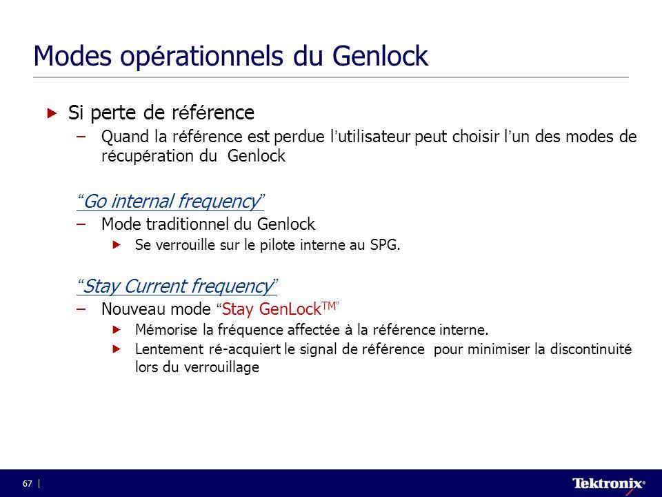 67 Modes op é rationnels du Genlock  Si perte de r é f é rence –Quand la r é f é rence est perdue l ' utilisateur peut choisir l ' un des modes de r