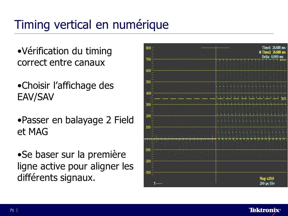 71 Timing vertical en numérique •Vérification du timing correct entre canaux •Choisir l'affichage des EAV/SAV •Passer en balayage 2 Field et MAG •Se b