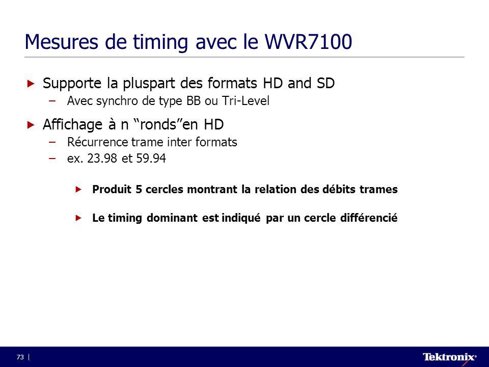 """73 Mesures de timing avec le WVR7100  Supporte la pluspart des formats HD and SD –Avec synchro de type BB ou Tri-Level  Affichage à n """"ronds""""en HD –"""
