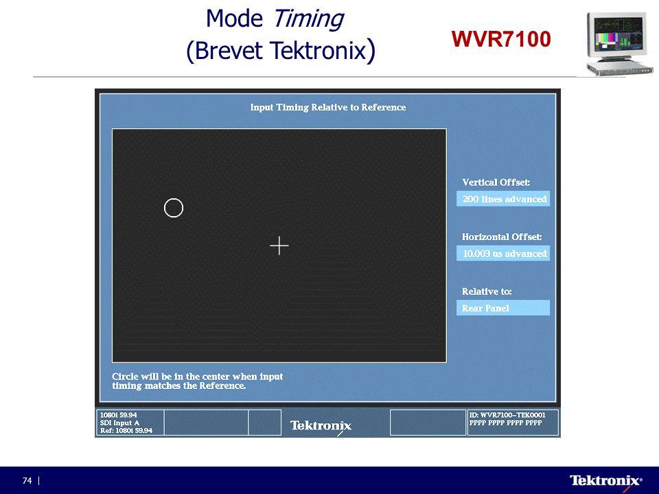74 WVR7100 Mode Timing (Brevet Tektronix )