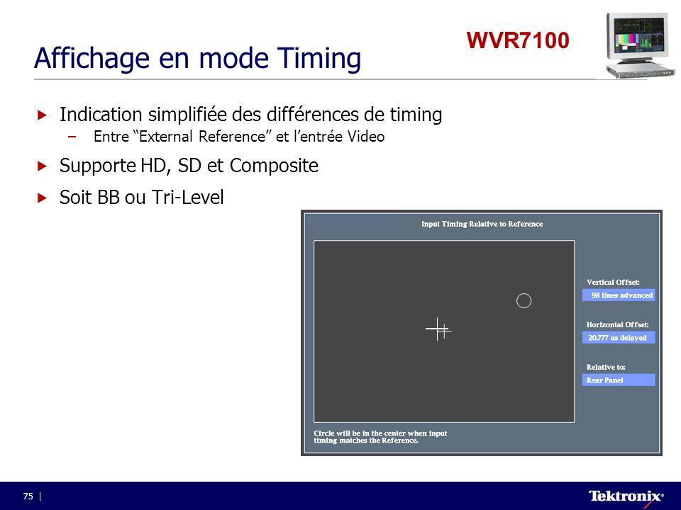 """75 Affichage en mode Timing  Indication simplifiée des différences de timing –Entre """"External Reference"""" et l'entrée Video  Supporte HD, SD et Compo"""
