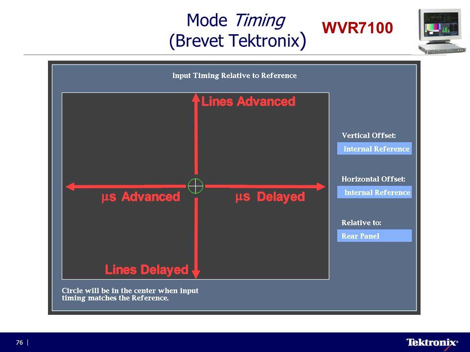 76 WVR7100 Mode Timing (Brevet Tektronix )