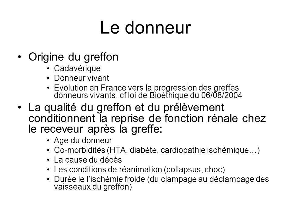 Le donneur •Origine du greffon •Cadavérique •Donneur vivant •Evolution en France vers la progression des greffes donneurs vivants, cf loi de Bioéthiqu