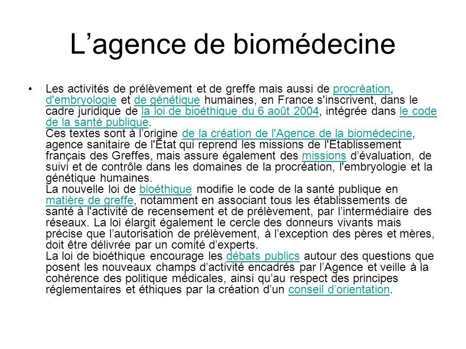 L'agence de biomédecine •Les activités de prélèvement et de greffe mais aussi de procréation, d'embryologie et de génétique humaines, en France s'insc