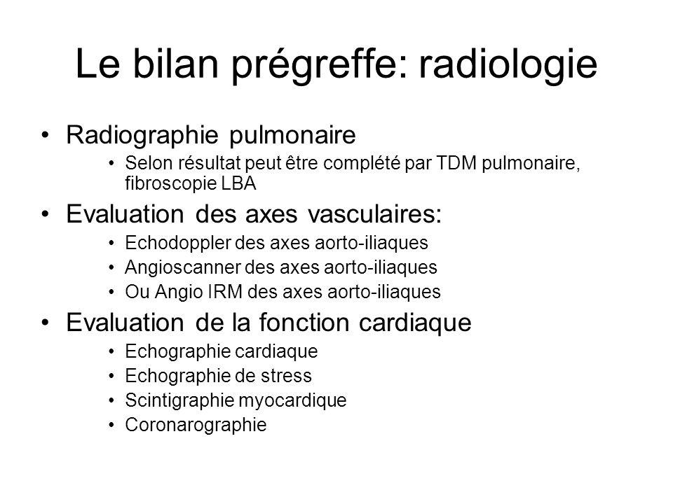 Le bilan prégreffe: radiologie •Radiographie pulmonaire •Selon résultat peut être complété par TDM pulmonaire, fibroscopie LBA •Evaluation des axes va