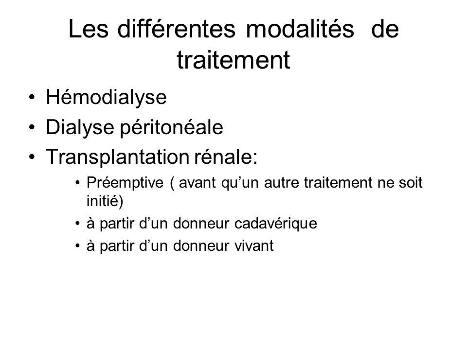Les différentes modalités de traitement •Hémodialyse •Dialyse péritonéale •Transplantation rénale: •Préemptive ( avant qu'un autre traitement ne soit