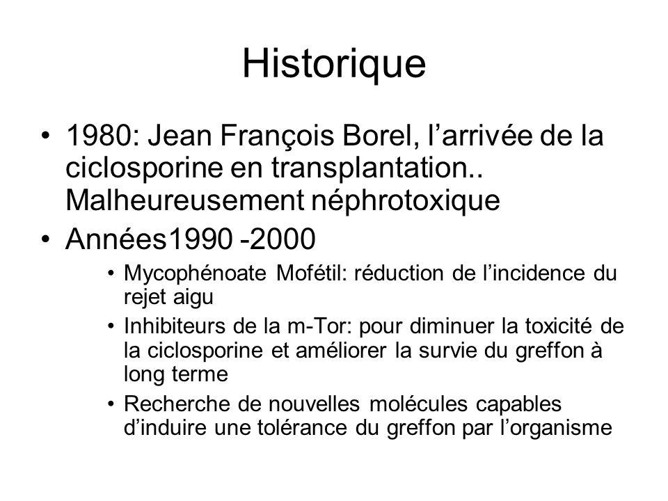Historique •1980: Jean François Borel, l'arrivée de la ciclosporine en transplantation.. Malheureusement néphrotoxique •Années1990 -2000 •Mycophénoate