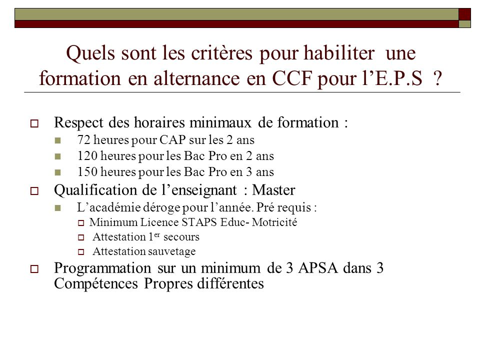 Quelles dates et périodes d 'évaluation du CCF en E.P.S .