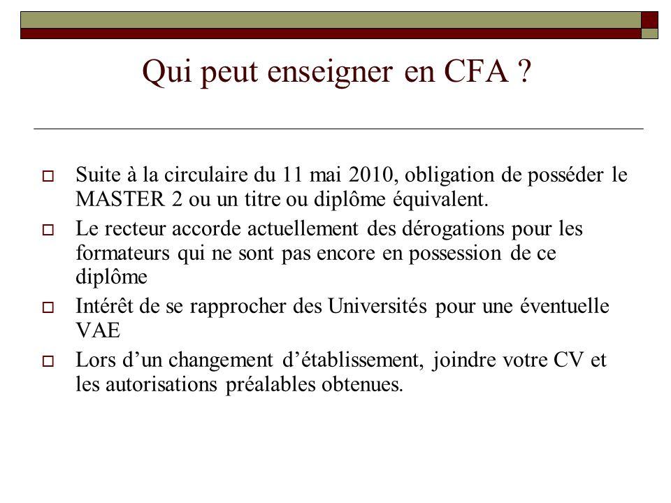 Comment sont actuellement accordées les autorisations d'enseigner l'EPS en CFA .