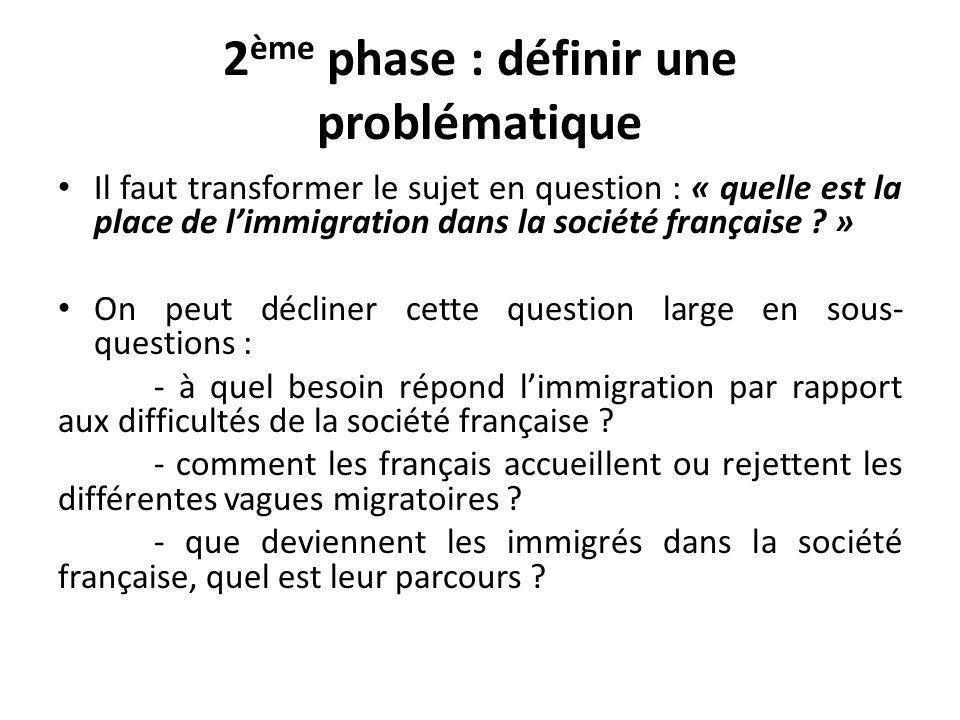 2 ème phase : définir une problématique • Il faut transformer le sujet en question : « quelle est la place de l'immigration dans la société française